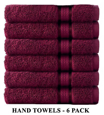 Cotton Craft - 6 Pack - Ultra Soft Extra Large Hand Towels 16x28 Burgundy