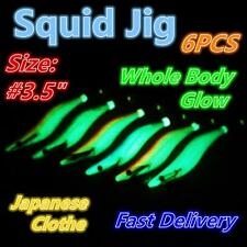 "6X Size 3.5"" 13.2cm Squid Jig Japanese Clothe EGI Jigs Whole body Glow OZ Seller"