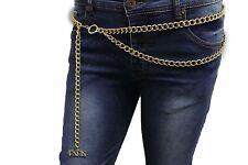 Women Chic Fashion Belt Gold Metal Chunky Chains Hip Waist PARIS Charm M L XL