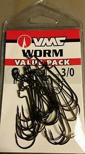 VMC Value Pack Worm Hooks sz 3/0 Qty. 25 Bass Fishing Resin Closed Eye