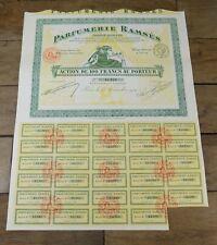 Titre Action au porteur Parfumerie RAMSES Egypte franc-maçon maçonnerie 1919