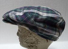 London Fog Cabby Newsboy Hat Green Plaid 7-7 1/8