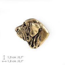 Fila Brasileiro (head), gold covered pin, high quality Art Dog Usa