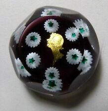 Charles Kaziun Micro Mini Vogue Lady Gold Foil & Millefiori Faceted Paperweight