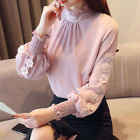 Spring Autumn Korean Women Chiffon Shirt Mock Neck Long Sleeve Casual Blouse_Top