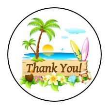 """BEACH THANK YOU STICKER LABEL ENVELOPE SEAL PARTY 1.2"""" OR 1.5"""" ROUND"""