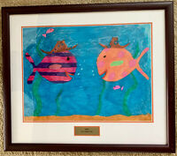 "Watercolor Painting SOUTHERN FISH 2009 26.5"" x 23"" w/Frame MDA Leadership Award"
