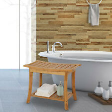 Wood Bathroom Shower Bench With Shelf Sauna Bath Spa Seat Stool Bamboo Furniture