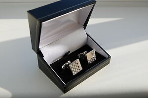 925 Sterling Silver Cufflinks Square Chessboard Polished & Matte Finish