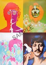 "Fabric Art Quilt Block - The Beatles Psychedelic Classic Rock  - 8""x10""  5060"
