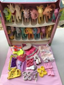 Vintage G1 My Little Pony Lot Of 14 w/ Accessories & Collectors Case ~ PLAY LOT