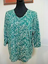 SPORTSCRAFT green/cream merino wool 3/4 sleeve cardigan XXL