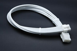 8 Pin Pcie Full White GPU Sleeved Power Supply Extension Cable 2 Comb Shakmods