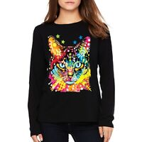 Velocitee Ladies Long Sleeve T-Shirt Psychedelic Cat Blue Eyes Face Cute A19035