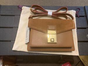 Bnwt Genuine Ted Baker Kayleas Luggage Lock Tan Brown Xbody Suede & Leather Bag