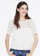 NWT $78 Armani Exchange A|X Relaxed Lace Crop top Tee T Blouse White S 4 5