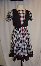 De Loris 1 Pc Square Dance Dress Costume Vtg Sz 12 Black White Checkered