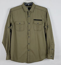 M.C. SQUARED 2 mens button front long sleeved Olive green shirt size L