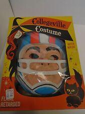 1960's Collegeville Football Hero Kids Halloween Costume w/ Box Mask Jersey Rare