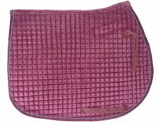 Essential Velvet Hunter-Jumper Show Pad: Quilted  rose body/pine piping