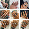 Trendy RING Set Boho Knuckle Rings Midi Elephant Gold Silver Fashion Thumb Stack