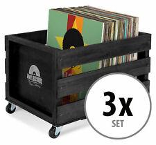 3x Schallplatten Vinyl Box Kiste Aufbewahrung 100 Sammlung Plattenkiste Schwarz