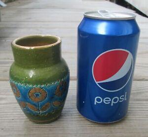 Vintage Italian Art Pottery Vase-Raymor, Bitossi Aldo Londi-Rimini Blue, Gold