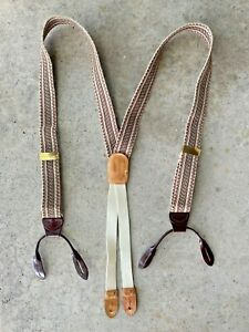 Cole Haan~Wool & Leather Suspenders Braces A3007~Used Once