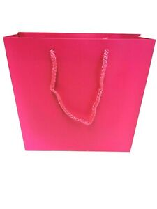 Luxury Pink Laminated, Paper Gift Bags With Rope Handles Shop, Party Xmas, Etc