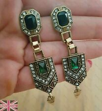 Vintage Art Deco Style Long Green Diamante Crystal Earrings Gold Tone Wedding
