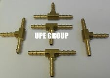 (5 Pieces) 1/8 HOSE BARB TEE Brass Pipe 3 WAY T Fitting Thread Gas Fuel Water