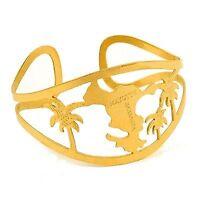 bracelet ouvert en Acier 316 de couleur or, ajouré et représentant Mayotte