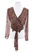 Nasty Gal Collection Cropped Wrap Top Blouse Floral Semi Sheer Womens Sz 6 Small