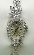OMEGA VINTAGE 14K WHITE GOLD AND DIAMOND LADIES WRIST WATCH - LB3176
