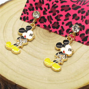 Hot Yellow Enamel Lovely Mickey Mouse Crystal Betsey Johnson Women Stand Earring