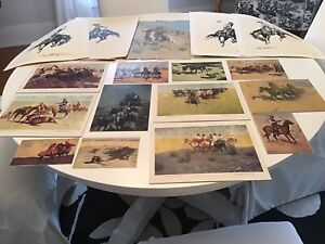 Vintage Lot of 17 FREDERIC REMINGTON Prints with Bronco Busters Folders