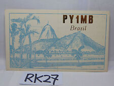 VINTAGE QSL CARD AMATEUR RADIO POSTAL HISTORY 1968 RIO DE JANEIRO BRASIL-BRAZIL