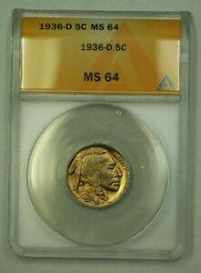 1936-D Buffalo Nickel 5c ANACS MS-64 (A) (WW)