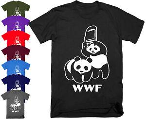 Mens WRESTLING PANDA WWF T Shirt Top Funny Banksy Joke Parody Gift S - 5XL