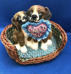 LivingStone BOXER PUPS SIDEKICKS Dogs in wicker basket  w/pillow 1998 Figurine