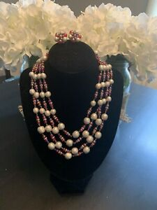 Vintage VOGUE Necklace & Signed Earrings-Faux Pearl and Pink/Red Bead Jewelry