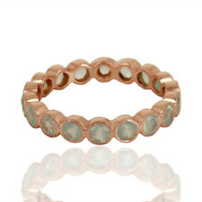 Aqua Chalcedony Gemstone 925 Silver Rose Gold Plated Engagement Band Rings