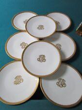 """Limoges Tresseman & Vogt - T&V -8 Dinner Plates Monogrammed """"Mw""""[*A1b"""