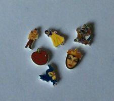 6 SNOW WHITE FLOATING LOCKET CHARM APPLE QUEEN WITCH  SEVEN DWARFS PRINCE