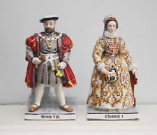 Elizabeth I & Henry VIII, fine paire vintage Chine Marks & Rosenfeld figurines
