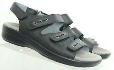 Abeo Biosystem 3478 Emmi Black Triple Strap Wedge Sandals Women's US 8 N