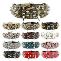 2.0 inch Wide Spiked Studded PU Leather Dog Collars for Pitbull Bully Mastiff
