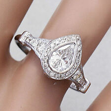 14K SOLID WHITE GOLD PEAR SHAPE DIAMOND BEZEL SET ENGAGEMENT RING 1.85CT