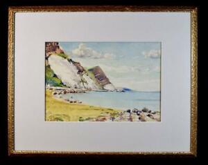 Original Irish Art Watercolour Painting c1930s Garron Point Antrim Coast