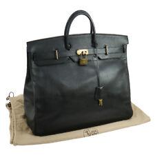 Authentic HERMES HAUT A COURROIES 50 Hand Bag Black Ardennes GHW GOOD NR10707